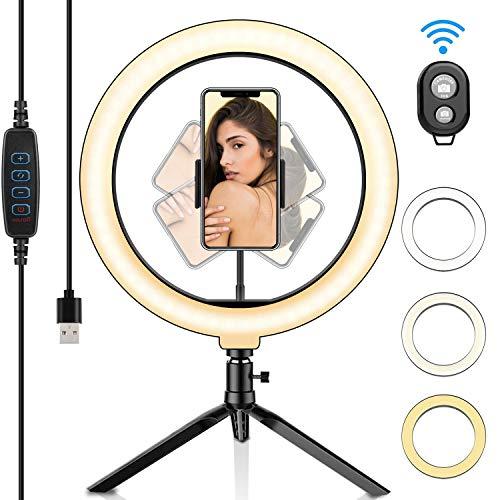 Sainlogic LED Selfie Ringlicht mit Fernbedienung, Ringleuchte Stativ mit 3 Farbe und 10 Helligkeitsstufen, Tischringlicht für schöne Fotos oder Videosschooting, live Streaming, Portrait, schminken usw