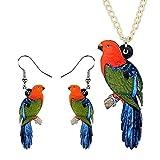 XQAQW Conjunto de Joyas acrílicas de Las Mujeres Lindo Collar Pendientes Gargantilla Colgante Pájaro Jungle Girls Decoración