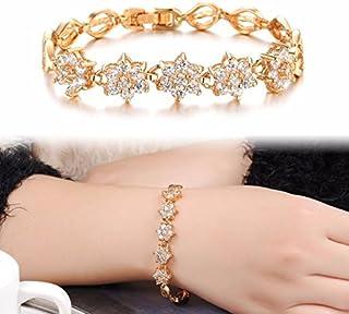 Women Zircon Fine Diamond Plated 18K Gold Wheat Handmade Trinkets Bracelet