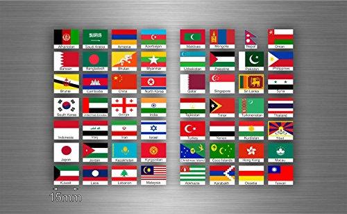 Akachafactory Sticker, zelfklevend, vlag, voor het bewaren van postzegels, Azië, txt r2