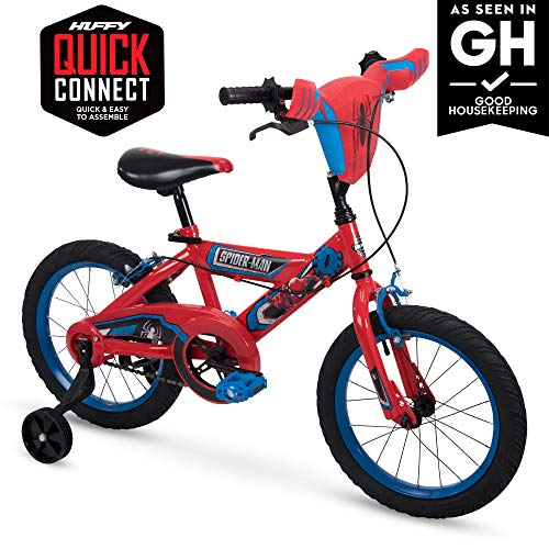 Huffy Marvel Spider-Man Kid Bike Quick Connect Assembly, Handlebar Plaque & Training Wheels, 16'  Red