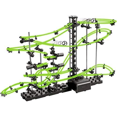 Monsterzeug Kugelachterbahn mit Looping, Nachtleuchtende Edition, Kugelbahn Bausatz, Murmelbahn zum selber Bauen, Neon Kugelbahn