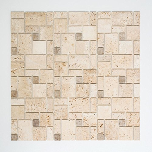 Mosaik Fliese selbstklebend Travertin Naturstein beige Kombination Travertin beige für WAND DUSCHE KÜCHE FLIESENSPIEGEL THEKENVERKLEIDUNG Mosaikmatte Mosaikplatte