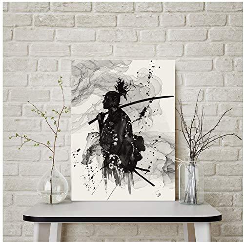 chtshjdtb Schwarz und Weiß Porträt Wandkunst Leinwand Malerei für Büroraum Wanddekor Japanischen Samurai Asiatischen Krieger Poster-50x50 cmx1 stücke Kein Rahmen