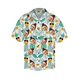MyPupSocks Personalized Face Photo Lovely Pineapple and Banana Leaves Men's Hawaiian Casual Button Down Short Sleeve Shirt S