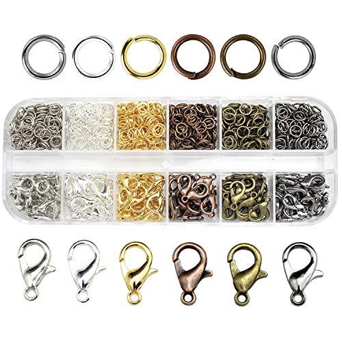 JiangLin Karabinerverschluss Schmuck Karabiner Verschluss, 720 Stücke Hummer Greifer Haken Karabinerhaken und Öffnen Sprung Ringe für Halsketten Armband DIY Schmuckherstellung, 6 Farben