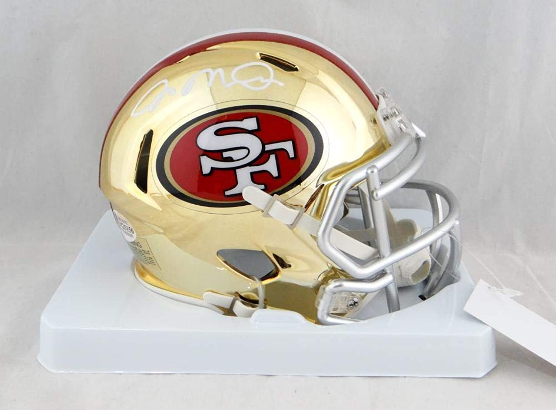 Signed Joe Montana Mini Helmet  Chrome Beckett Auth White  Beckett Authentication  Autographed NFL Mini Helmets