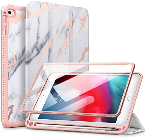 SURITCH Case for iPad Mini 5 and iPad Mini 4 Slim Lightweight Trifold Stand Protective Case with Built-in Screen Protector, Pencil Holder and Auto Wake/Sleep Function for iPad Mini 7.9' 2019 Marble