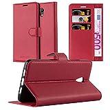 Cadorabo Hülle für Lenovo P2 - Hülle in Karmin ROT – Handyhülle mit Kartenfach & Standfunktion - Hülle Cover Schutzhülle Etui Tasche Book Klapp Style
