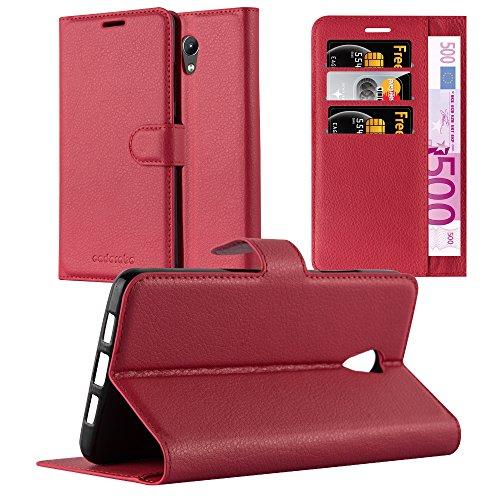 Cadorabo Hülle für Lenovo P2 in Karmin ROT - Handyhülle mit Magnetverschluss, Standfunktion & Kartenfach - Hülle Cover Schutzhülle Etui Tasche Book Klapp Style