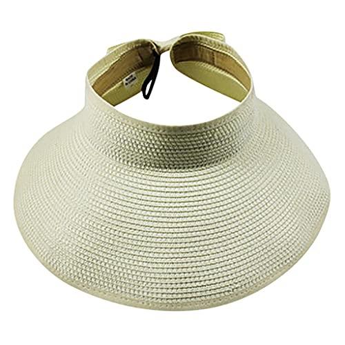 H/A GUOHUU Mujer Verano Plegable Paja Sol Paraguas Plegable UV Gorras Sombreros al Aire Libre Viajar Sombrero Sombrero Sombrero GUOHUU (Color : Beige, tamaño : Talla única)