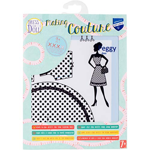 Vervaco Peggy Dots Kleid Ihrer Puppe Outfit, damit Set, Mehrfarbig