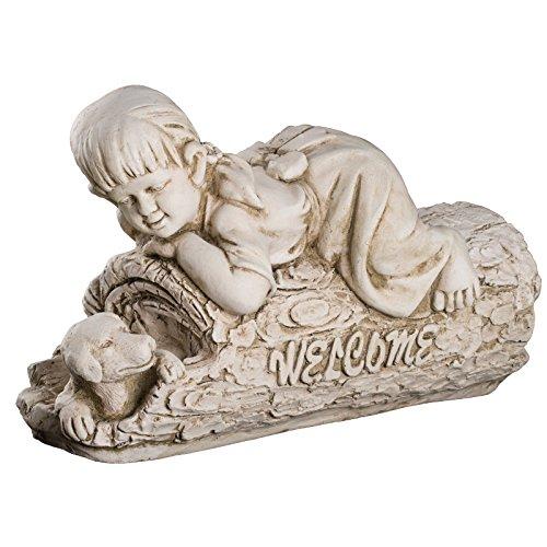 Wetterfeste Große schwere (7 kg) Statue Kinderfigur Welcome 51 cm lang SYL-A 14079 Gartenfigur, Dekofigur, Statue, Figur, Büsten, Dekorationsfigur für Innen und Außen, Polyresin , Gartendekoration, Gartenfigur, Skulptur in ANTIKBEIGE