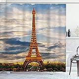 DYCBNESS Cortina de Ducha,Torre Eiffel París romántico Francia Vista a la Ciudad Arquitectura Atracción turística Vacaciones urbanas Escapadas Paisaje Real,Durable Cortina de Baño,180 x 180 cm