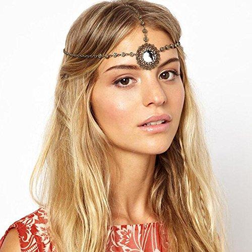 Missgrace Women Vintage Gold Head Chain Headdress Festival Boho Head Chain Headdress Hair Accessories for Wedding and Party