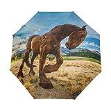 Parapluie Personnaliser 3 Plis Grassland Horse Statue de Pierre Coupe-Vent Auto Ouvert Fermer Léger Anti-UV