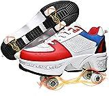 SHHAN Patines De Ruedas Niñas Cuatro Ruedas Invisible Polea Zapatos Zapatos Multiusos 2 En 1 Cómodo Transpirable para Adulto,White Red,38
