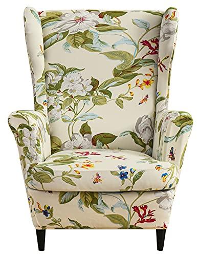 NOPEXTO Stretch Wingback Stuhl Schonbezüge, Sesselbezug Mit Blumen Muster Dekorative Bezug Husse Für Ohrensessel (Spring)