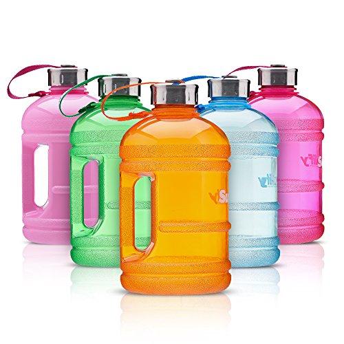 Supplify Gym Bottle Flasche BPA und DEHP freier Kunststoff - der Trend Wasserkanister (Schwarz Matt Transparent, 1,89 L)