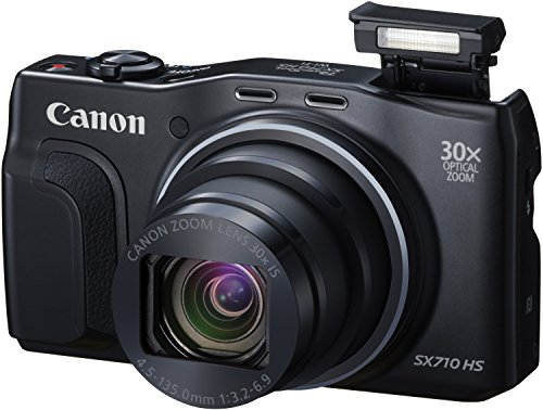 Canon PowerShot SX710 HS Digitalkamera (20,3 MPCMOS, 30-fach opt. Zoom, 60-fach ZoomPlus, 7,5cm (3 Zoll) Display, opt. Bildstabilisator, Full HD Movie 60p, WLAN, NFC) schwarz