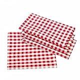 Unbekannt Maison de Campagne de Table à Carreaux en Couleur et Taille au Choix 100% Coton, Coton, Rouge et Blanc à Carreaux, 140x140 cm eckig