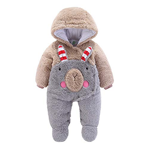 Why Choose Newborn Baby Girls Boys Hooded Romper Cartoon Plush Fleece Warm Jumpsuit Unisex Winter Bo...