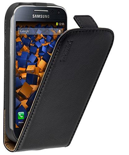 mumbi Echt Leder Flip Case kompatibel mit Samsung Galaxy S4 mini Hülle Leder Tasche Case Wallet, schwarz