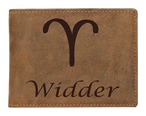 Greenburry Leder-Portemonnaie mit Widder Motiv I Geldbeutel mit Sternzeichen Motiv I Herren-Lederbörse mit Sternzeichen