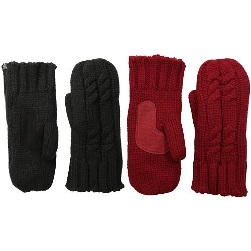 isotoner womens Chunky Cable Knit Sherpasoft cold weather mittens, Black Really Red 2 Pack, One Size US
