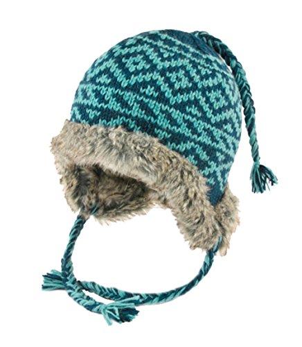 KUSAN PK1114 Teal Fake Fur Lined Earflap Gebreide muts met vechten Kleur: turquoise/blauw