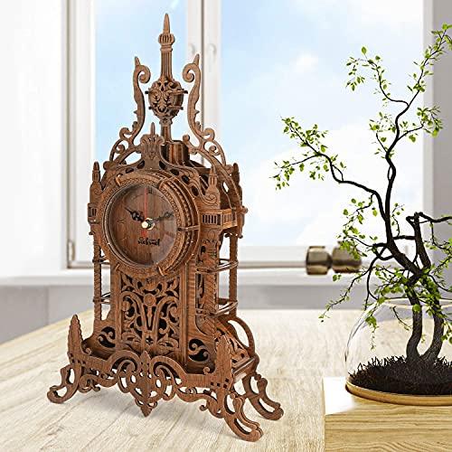 nicknack Tischuhr Modellbau - Laser geschnitten Uhr Bausatz - 3D Holz Puzzle für Erwachsene - 47 Teile Puzzle