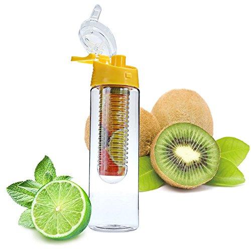daorier 800ml wimports Trinkflasche mit Fruit-Ei und Flip Deckel Zitronensaft machen Flasche, orange