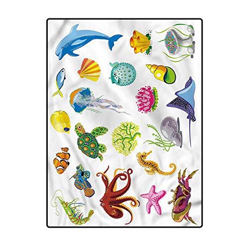 Marine Soft Indoor Modern Rugs Desk mat for Carpet Sea Animals Octopus Fish 4.5 x 5.2 Ft