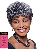 Sassy Wig Color 3T51 - Foxy Silver Wigs Short Pixie Wavy Synthetic Feathered Bangs African American Women's Machine Wefted Lightweight Average Cap Bundle with MaxWigs Hairloss Booklet