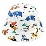 Bebé Sombrero para el Sol Niños Niñas Sombrero de Pescador Algodón Gorro Verano Primavera Protección UV Motivo Animal Blanco, Circunferencia de la Cabeza 54cm XL