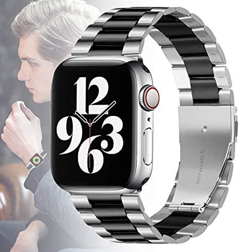 WJMT Reemplazo De Banda para Reloj De Manzana 40 Mm Serie 6 5 4 38 Mm Serie 3 2 1 SE Iwatch Reloj Ultra Delgado Acero Inoxidable Metal Bling,42MM/44MM