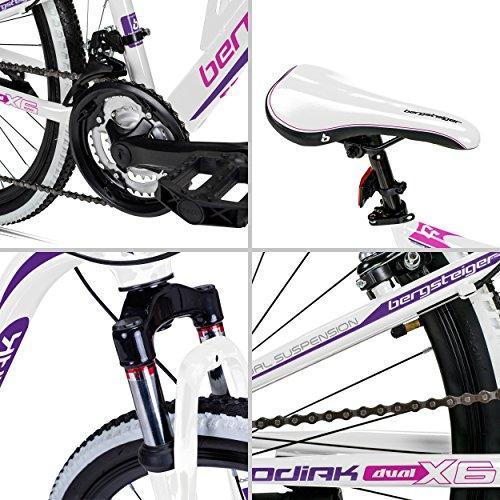 Bergsteiger Kodiak 24 Zoll Kinderfahrrad, geeignet für 8, 9, 10, 11 Jahre, Scheibenbremse, Shimano 21 Gang-Schaltung, Mountainbike mit Vollfederung, Mädchen-Fahrrad - 5