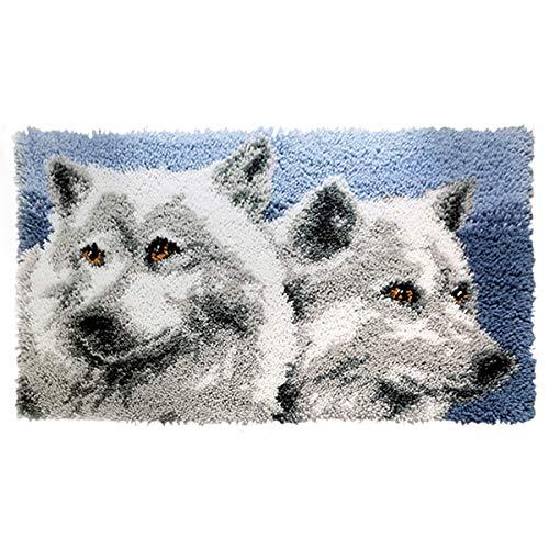 Kits de gancho de cierre Alfombra Bordado Punto de cruz Cojín Alfombra Alfombra de felpa Kit de bordado Alfombra DIY Fabricación de alfombras Decoración para el hogar(Wolf-044)