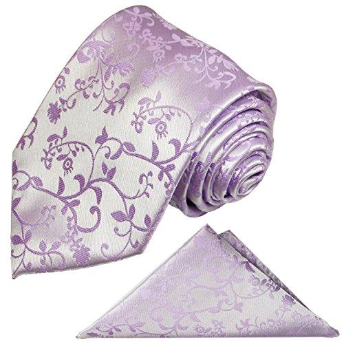 Flieder Krawatten Set 2tlg + Einstecktuch geblümt lila violett