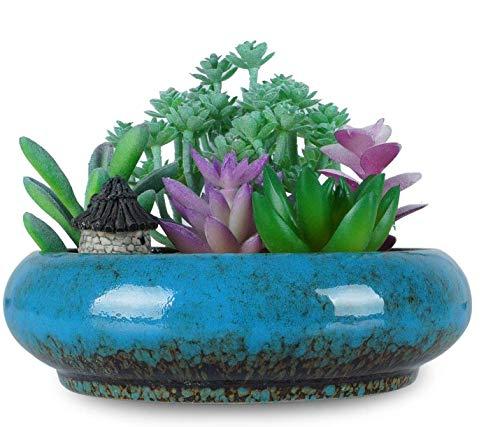 Maceta de cerámica redonda vintage de 7,3 pulgadas, con ventosa esmaltada azul, jarrón de flores bonsai, jardín, decorativo, cactus, plantas, soporte de maceta de decoración artificial