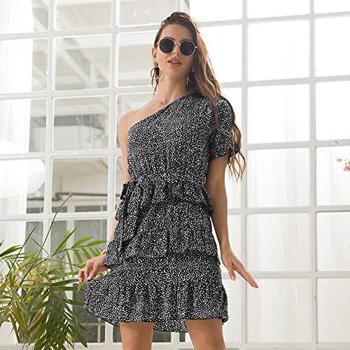 YYH Dames-jurk met elegante print en ronde hals, vintage, bloemenjurk, midi-rok X-Large zwart