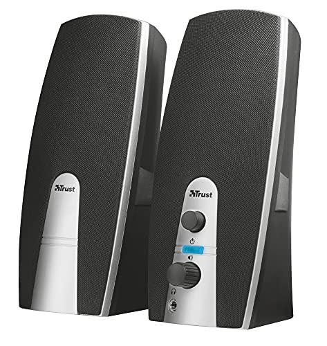 Trust MiLa 2.0 Lautsprecher, 5 Watt RMS (10 W Spitzenleistung) Kopfhöhreranschluss, schwarz / silber