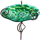 SANKUU 31.1 Inch Height Glass Bird Bath, Birdbaths Birdfeeder with Metal Stake for Garden Outdoor Decoration (Green)