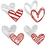 OOTSR 4 Pieces Heart Die Cuts for Card Making, Metal Embossing Dies, Die Cuts Stencils for DIY Paper Art Craft, Scrapbooking, Photo Album, Valentine's Day Decoration