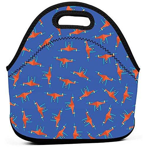 Kinder Erwachsene Gelb Drohne Muster Mittagessen Handtasche Neopren Wiederverwendbare Auslaufsicher Gourmet Lunchbox Organizer für Gym/Wandern/Picknick/Reisen/Strand/Schule/Büro/Picknick
