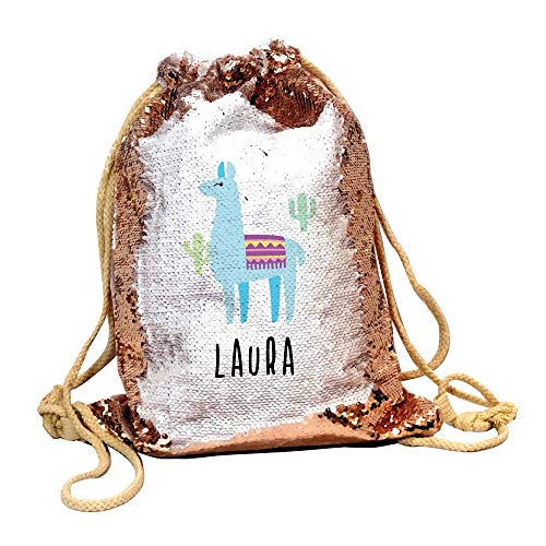 Bantersaurus Drawstring Bag Personalised With Any Name Llama Sequin Backpack For Girls - Champagne