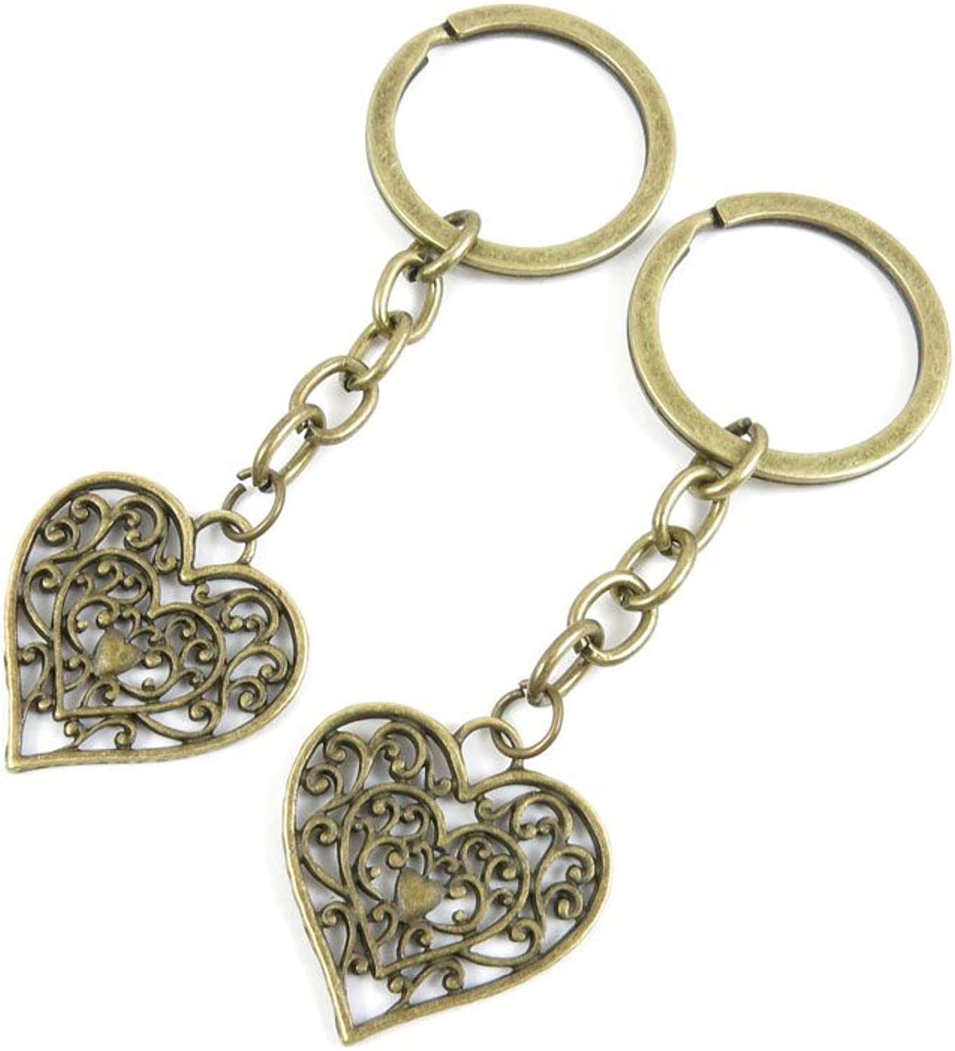180 Pieces Fashion Jewelry Keyring Keychain Door Car Key Tag Ring Chain Supplier Supply Wholesale Bulk Lots H2LB7 Hollow Heart