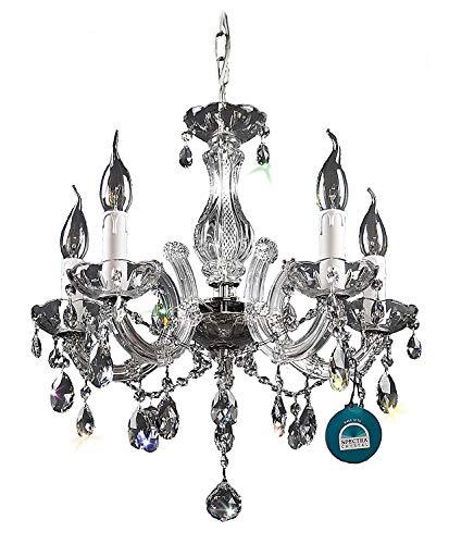 Kristallen kroonluchters 5 arm Ø45cm van PGA Lights® gemaakt van SPECTRA CRYSTAL van Swarovski zilver