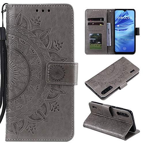 CoverKingz Handyhülle für Xiaomi Mi A3 - Handytasche mit Kartenfach Mi A3 Cover - Handy Hülle klappbar Motiv Mandala Grau