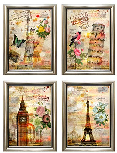 ABM Home - Cuadro de pared (44 cm x 64 cm por marco/juego de 4 unidades), marco de pared grande, estilo vintage, lienzo enmarcado, póster grande (negro, C)